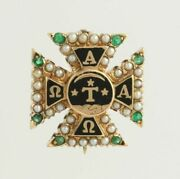 Alpha Tau Omega Vintage Fraternity Pin Ato 14k Yellow Gold C. 1895-1905 Emeralds