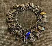 Antique Vintage Sterling Silver Chinese Asian Oriental 30 Charm Bracelet 75g