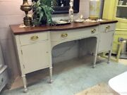 19th C Large Sideboard Buffet Painted Gray Bottom Dark Wood Top Work Surface