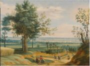Oil Painting Handpainted On Canvas Landscape With Peasants Having A Picnic
