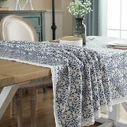 Elome Cotton Linen Fabric Vintage Navy 55 Inch X 79 Inch Rectangle Tablecloth...