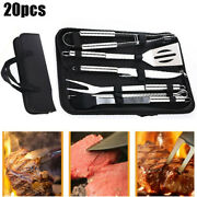 20x Bbq Grill Cooking Utensil Tool Set Stainless Steel Barbeque Portable Case Us