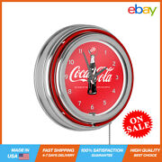 Retro Vintage Analog Hanging Wall Battery Neon Round Shape Clock Us Supplier