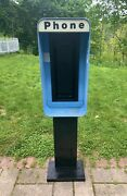 Vintage Pay Phone Booth Enclosure W/light - Electric Connections Still Present