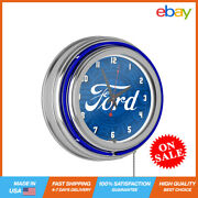 Genuine Parts Chrome Double Rung Neon Hanging Wall Vintage Battery Round Clock