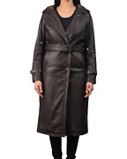 Women Long Full Length Brown Leather Button Front Trench Over Coat Duster Jacket