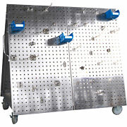 Stainless Steel Locboard Tool Cart- 48l X 26.625w X 46in.h 66 Hooks And 6 Bins