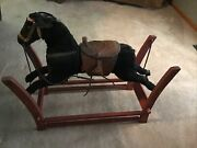 Antique Rocking Horse Made With Horse Hair And Leather Saddle Vintage Toy