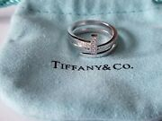 And Co. T T1 Wide Diamond Square Wrap Ring 18k White Gold Size 6.25 Pouch