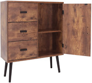 Iwell Mid-century Storage Cabinet With 3 Large Drawers And 1 Side Cabinet With Adj