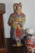 19th C Chinese Polychrome Stucco Figure Manandnbsp