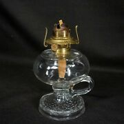Antique Eapg Clear Glass Finger Ring Oil Lamp Fish Scale Base