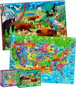 100 Pieces Jigsaw Puzzles For Kids Ages 4-8 By – Two Usa Map And National Park
