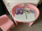 Vintage Little Tikes Vanity Table And Pink Chair Child Girl Size Mirror Bedroom