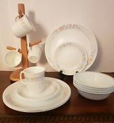 16-pc Corelle Apricot Grove Set Dinner Plates Mugs Bowls Bread And Butter Plates