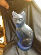 Fenton Kelsey Murphy Sand Carved Blue Moon Stylized Cat. Numbered And Rare.
