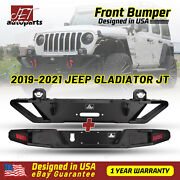 For 2019-2021 Jeep Gladiator Jt Front And Rear Bumper Led Light Steel Towing Hooks