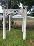 Pretty Garden Arbor Made From Victorian Architectural Salvage Posts And Corbels