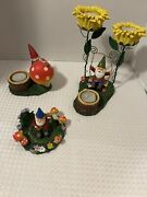 Yankee Candle Gnome Swing Tea Light Candle Holder Collectible Mushroom Lot Of 3