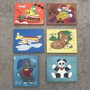 Vintage Lot Of 6 Antique Playskool/sifo/holgate Wooden Tray Puzzles