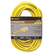 Southwire Extension Cord W Power Light Plug Heavy Duty Outdoor 12/3 Sjtw 100 Ft.