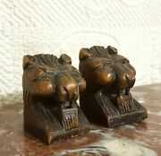 2 Small Lion Wood Carving Newel Post Finial Antique French Architectural Salvage
