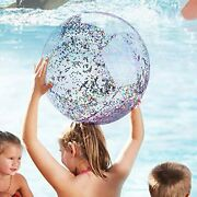5 Pack Beach Ball Pool Toys Balls Sequin Confetti Glitter Inflatable Clear