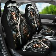 Set Of 2 - Awesome Gothic Grim Reaper Skull Car Seat Cover Sugar Skull