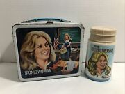 Vintage Bionic Woman Metal Lunch Box Thermos Lunchbox