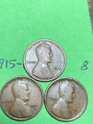 1915-pds Lincoln Wheat Cents 3 Nice Coins For Your Collection 8