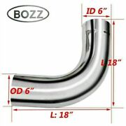 6 6 Inch Od / Id Chrome 90 Degree Elbow Exhaust Pipe -18 X18 Arms Length Tube
