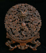 China Dynasty Palace Huanghuali Wood Carving Dragon Beads Folding Screen Statue