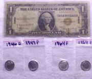 1935 A Hawaii Over Print Dollar Bill And 4- Silver Dimes 90 Silver