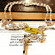 Silver Rose Beads St.benedict Italy Rosary And Crucifix Cross Catholic Necklace