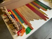 Vintage Wooden Tinker Toys Lot - 675 Pieces W/ Canisters And Instruction Sheets