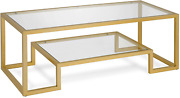 Hennandhart Modern Geometric-inspired Glass Coffee Table One Size Gold