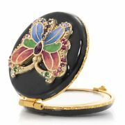Jay Strongwater Butterfly Compact Mirror 14k Gold Scb8082-256 New