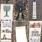 Antique Vintage Jewish Tapestry Embroidery Wall Hanging Ornate Brass Frame Bell