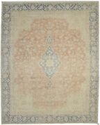 10x12 Muted Colors Distressed Antique Floral Classic Style Oriental Rug 9'6x11'9