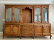 Antique Circa 1890-1910 Large French Carved Wall Cabinet Unit / Back Bar