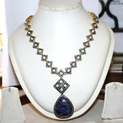 925 Silver Necklace Antique Rose Cut Victorian Diamond Carved Sapphire Necklace