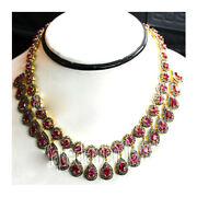 925 Sterling Silver Natural Ruby Rose Cut Victorian Look Real Diamond Necklace