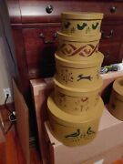 Primitive/country/colonial Decorated Stack Of Boxes
