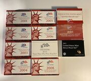 2001-2011 United States Mint Silver Proof Set With Coa 90 Silver.