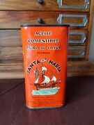 Vintage Mexican Santa Maria Pure Olive Oil Tin Can Kitchen Canister From 40's