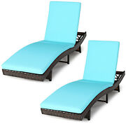 Topbuy 2pcs Patio Adjustable Rattan Chaise Lounge Folding Reclining Wicker Chair