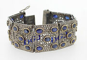 925 Silver Victorian Style Rose Cut Natural Diamond And Sapphire Bracelet Bangle