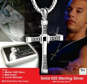 925 Sterling Silver Fast And Furious Dom Toretto Cross Pendant Necklace Gift Box