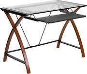 Flash Furniture Glass Computer Desk With Pull-out Keyboard Tray And Crisscross F