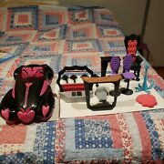 Monster High Car Roadster 2012 And Furniture Lot Of 14 Pieces